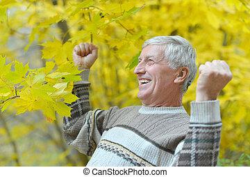 jesień, szczęśliwy, park, człowiek