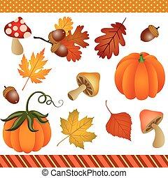 jesień, upadek, clipart, cyfrowy