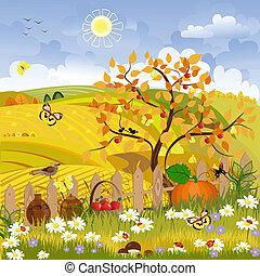 jesień, wiejski, drzewo krajobraz