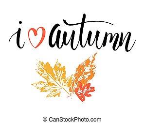 jesień, wyrażenie, miłość