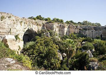 jeskyně, neapolis, do, syracuse, -, sicílie