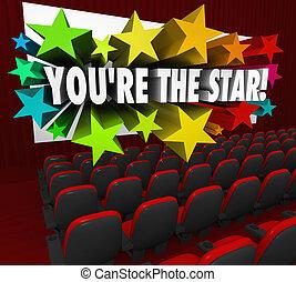 jesteś, gwiazda, teatr, film osłaniają, działanie, film