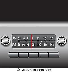 jestem, fm, wóz, tablica rozdzielcza, radio