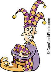 jester, corte arte, caricatura, ilustração