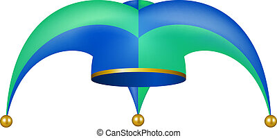 Jester hat in blue and green design on white background
