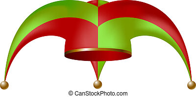 Jester hat in green and red design isolated on white background