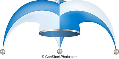 Jester hat in white and blue design on white background