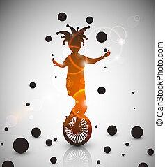 Jester juggler - Background with jester juggler. Eps 10