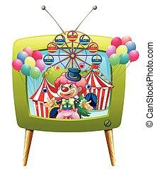 Jester juggling balls on tv screen