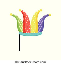 Jester on stick, masquerade decorative element cartoon vector Illustration isolated on a white background