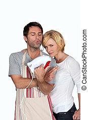 jesting, couple, cuisine