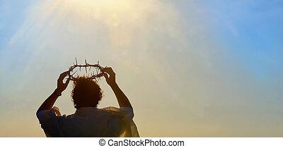 jesucristo, con, corona de espinas
