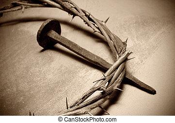 jesucristo, corona de espinas, y, clavo