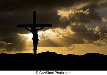 jesucristo, crucifixión, en, viernes santo, silueta