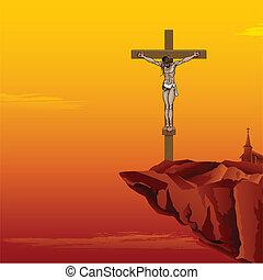 jesucristo, en, cruz