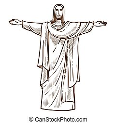 jesucristo, estatua, en, río de janeiro, monocromo,...