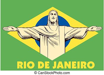 jesucristo, estatua, río de janeiro, bandera del brasil