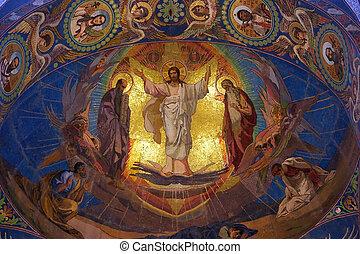 jesucristo, mosaico, en, ortodoxo, templo, petersburg