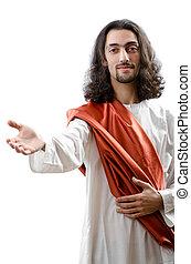 jesucristo, personifacation, aislado, en, el, blanco
