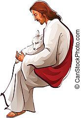 jesucristo, sentado, con, un, sheep