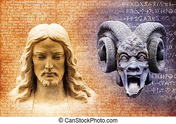 jesucristo, y, satanás, el diablo