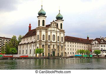 jesuit, 水辺地帯, 教会, スイス, ルツェルン