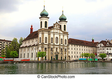 Jesuit Church and waterfront , Lucerne, Switzerland - Jesuit...