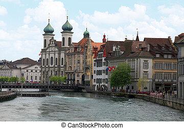 Jesuit Church and waterfront , Lucerne, Switzerland - Jesuit...