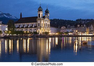 Jesuit Church - Lucerne - Switzerland - Dusk at the Jesuit...