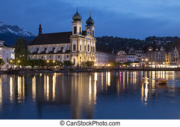 Jesuit Church - Lucerne - Switzerland - Dusk at the Jesuit...