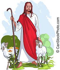 jesus, är, a, god herde