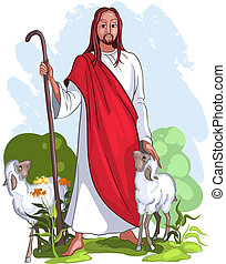 jesus, é, um, bom pastor