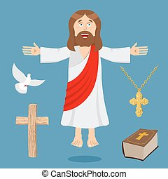 Jesus and accessories. Holy biblica