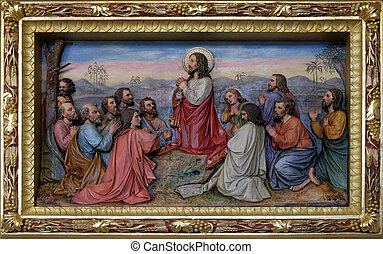 Jesus and Apostles in the Mount of Olives, fresco in the church of Saint Matthew in Stitar, Croatia