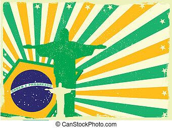 jesus and brazilian flag