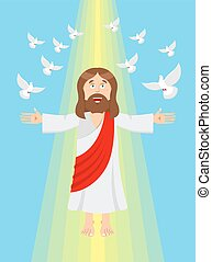 Jesus and pigeons. Ascension of Jesus Christ. Son of God in heaven. Resurrection of Jesus Christ. Bible character. Yellow divine ray of light