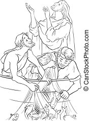 Jesus and the Miraculous Catch of Fish Coloring page -...