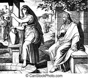 Jesus and the Samaritan Woman 1) Sacred-biblical history of the old and New Testament. two Hundred and forty images Ed. 3. St. Petersburg, 2) 1873. 3) Russia 4) Julius Schnorr von Carolsfeld