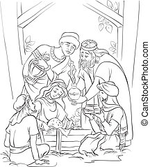 Outlined illustration of a Nativity scene - Jesus, Mary, Joseph and the Three Kings. Coloring page. Also available colored illustration in gallery