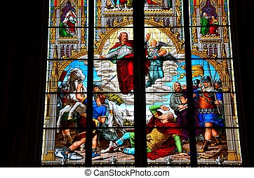 Jesus angels stained glass painting - A depiction of Jesus,...