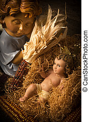 jesus, anjo, bebê, cartões., natal, cuidado