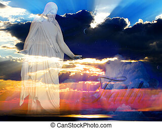 Jesus at creation with sunset and beams of light