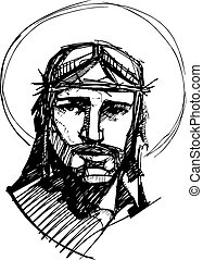 Jesus at his Passion c - Hand drawn vector illustration or...