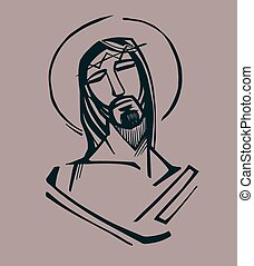 Jesus at the Passion - Hand drawn vector illustration or...