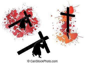 jesus, bärande, kors