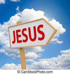 Jesus banner on sky