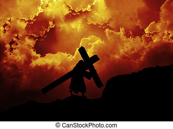 Jesus carries cross