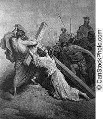Jesus carries the heavy cross