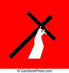 Jesus carry cross. Gods Son. Biblical religious vector illustration