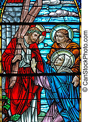 Jesus carrying cross - Stained glass window, in 19th century...